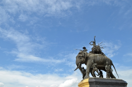 The elephant statue in the blue sky,Monument of King Naresuan at Suphanburi province in Thailand photo