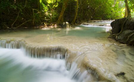 Deep forest waterfall at Erawan waterfall National Park Kanjanaburi Thailand Stock Photo - 17418504