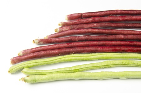 bundle of fresh long beans(Vigna unguiculata subsp. sesquipedalis) on a white background Stock Photo - 17616406