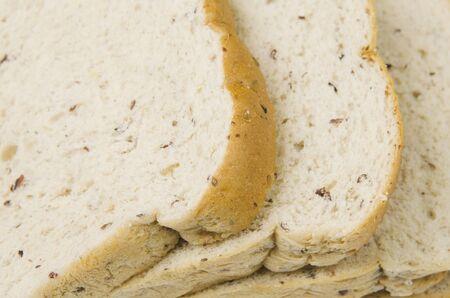Closeup of sliced bread photo