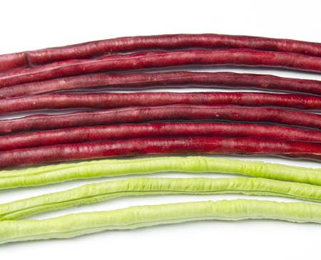 bundle of fresh long beans(Vigna unguiculata subsp. sesquipedalis) on a white background Stock Photo - 17617613