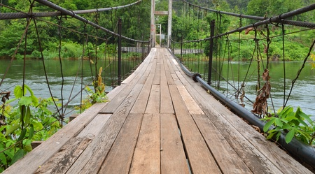 Bridge to the jungle, Kwa river, Thailand photo