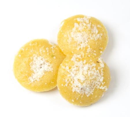 dessert thai sweet sugar palm cake isolated on white photo