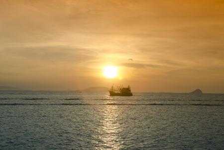 Beautiful sunset over the ocean photo