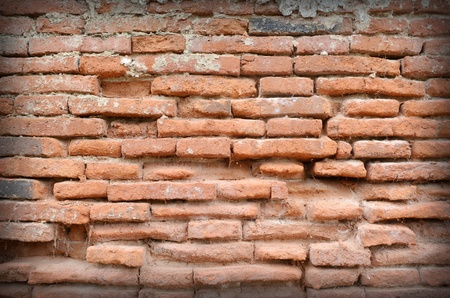 Weathered stained old brick wall background photo