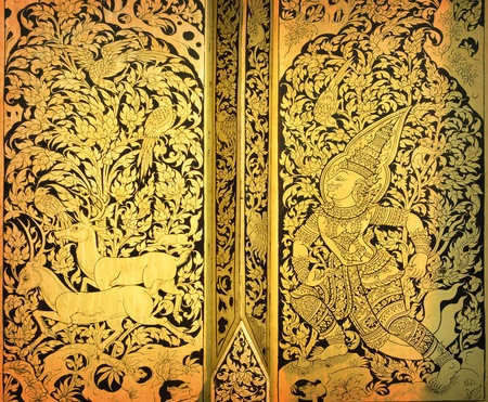 Thai painting on wood gold photo