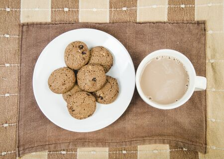 Coffee and Chocolate chips cookies Stock Photo - 17980126
