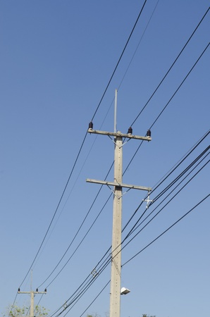Power line with blue sky photo