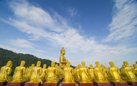 Makha Bucha, buddha with 1250 disciples statue, Nakhonnayok, Thailand photo