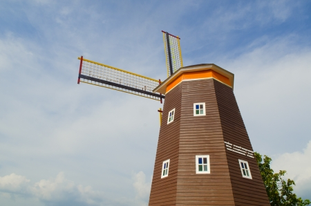 Traditional Dutch windmills with blue sky Stock Photo - 18158260