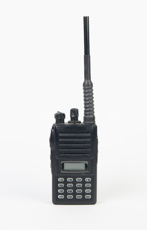 Black radio communication on white background photo