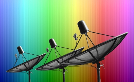 Satellite dish on Smooth colorful abstract fantasy background photo
