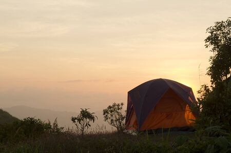 sunset at camping site photo