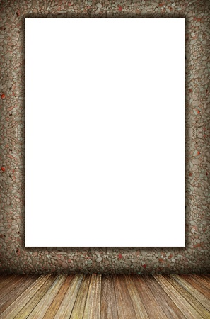 room interior vintage wall, wood floor and white blank placard background photo