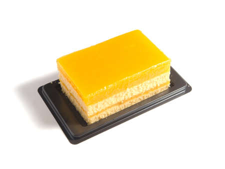 orange cake isolated on white background photo