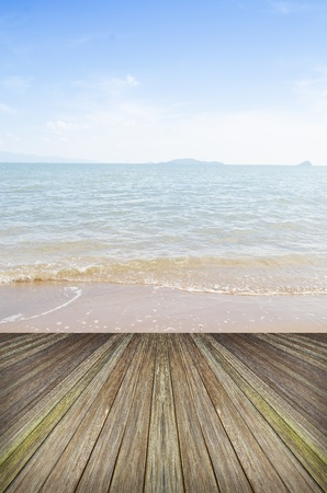 Beautiful sky and ocean with wooden berth Stock Photo - 19132098