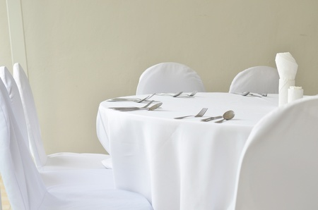 Fine restaurant dinner table place setting photo