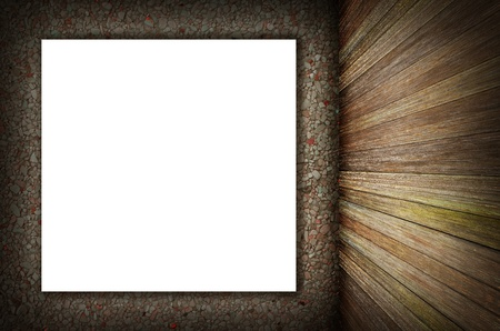 hist: room interior vintage wall, wood floor and white blank placard background