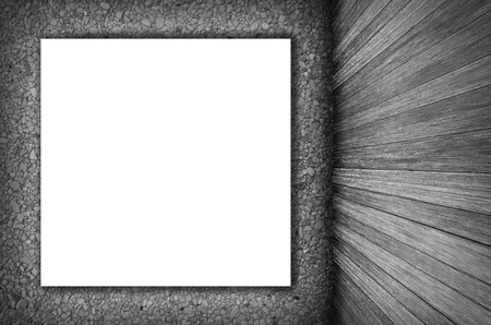 hist: room interior vintage wall, wood floor and white blank placard background in black and white Stock Photo