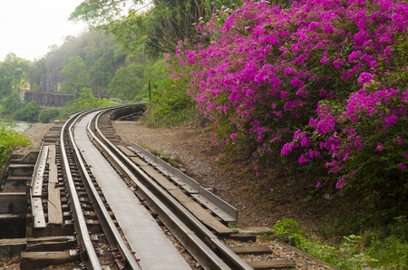 The Death Railway or The Thailand-Burma railway on World War II Stock Photo
