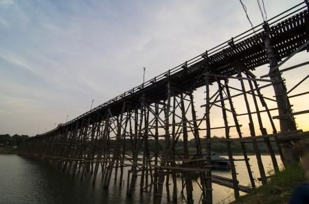 structure of longest wooden bridge in old image photo