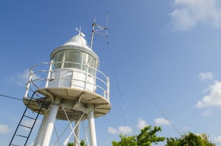 nova: White lighthouse with blue sky Stock Photo