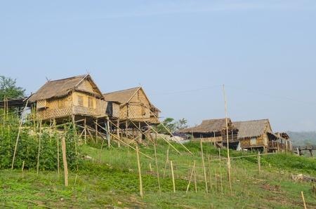 raft house in Sangkhlaburi, Kanchanaburi Thailand photo