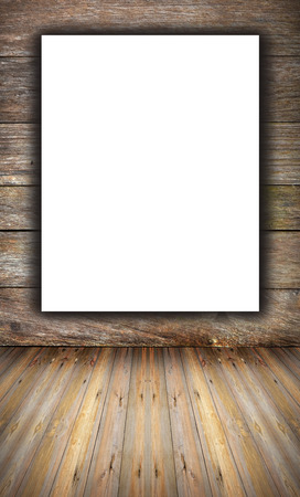 rou: room interior vintage with wooden wall, wood floor and white blank placard background Stock Photo