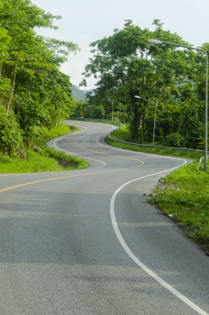 field stripped: Asphalt road sharp curve along with tropical forest zigzag ahead. Stock Photo