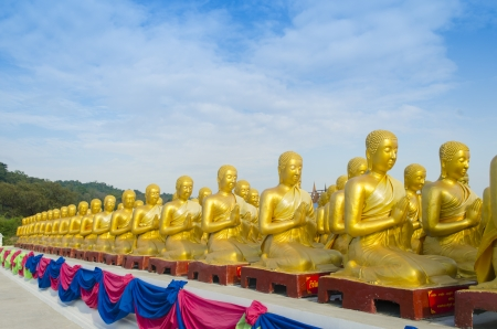 disciples: Makha Bucha, buddha with 1250 disciples statue, Nakhonnayok, Thailand