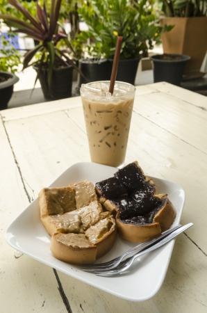 Ice coffee and  chocolate bread photo