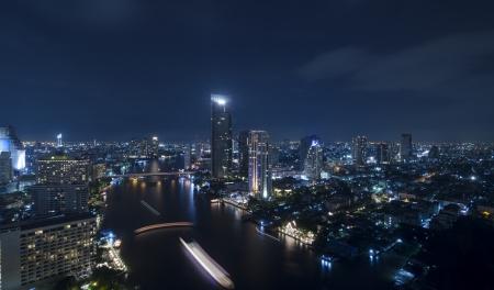 Panorama view of Bangkok city scape at nighttime