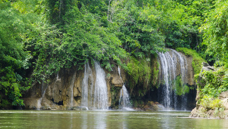 Waterfall in Sai Yok national park Kanchanaburi Thailand photo