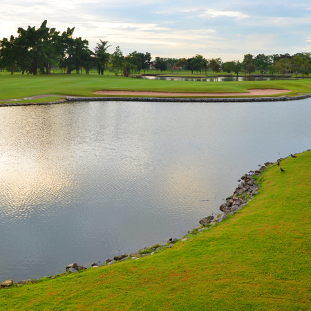 Lake at the beautiful golf course photo