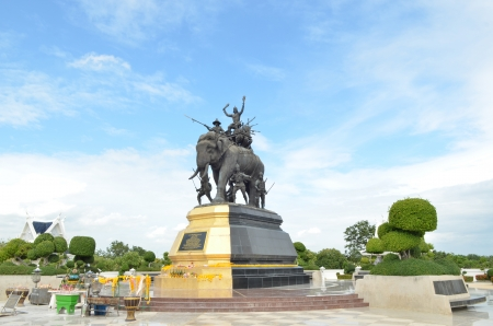 The elephant statue in the blue sky,Monument of King Naresuan at Suphanburi province in Thailand