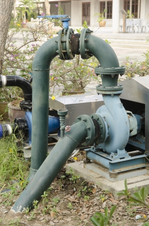sewer water: water pumping on the ground field