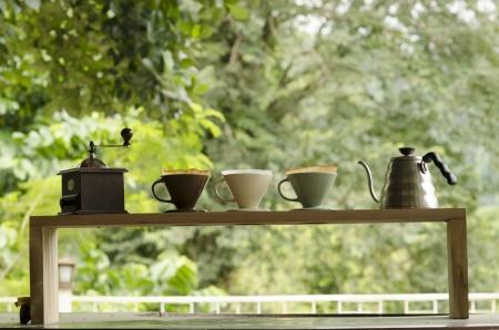 Kits for making fresh coffee. Standard-Bild