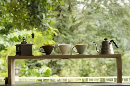 Kits for making fresh coffee. Foto de archivo