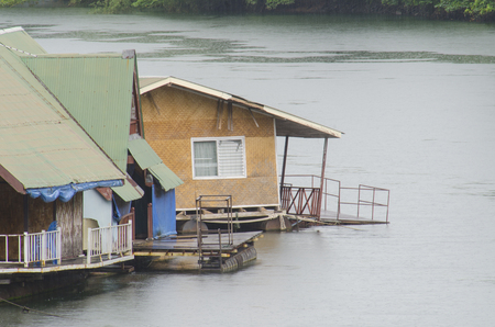 the raft house in river at National Park, thailand