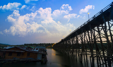 The wooden bridge is the second longest in the world. at Sangklaburi in Kanchanaburi, Thailand photo