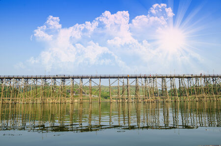 The wooden bridge is the second longest in the world. at Sangklaburi in Kanchanaburi, Thailand photo