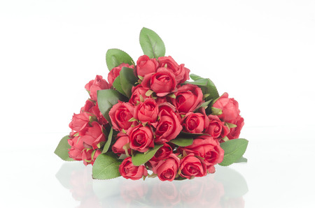 Photos of red roses for Valentines Day, isolated on white photo