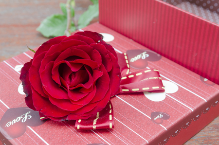 Roses and gifts on the occasion of Valentine s Day  photo