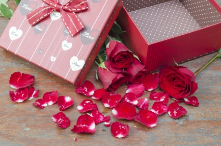 Pictures of roses and gifts for Valentines Day. photo