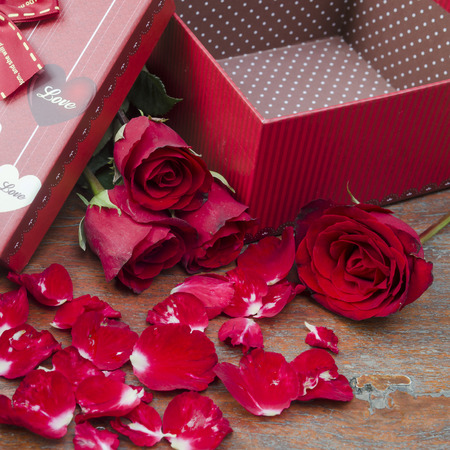 love concept of roses and gifts for Valentine's Day. photo