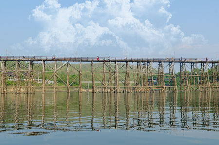 The oldest and longest wooden bridge in Thailand. photo