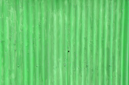 Rusty corrugated iron metal fence Zinc wall texture background, Green color