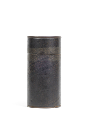 Brown paper tube container isolated over white background photo