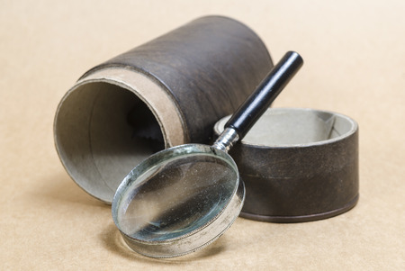 old items: Still life of Magnifier and old items Stock Photo