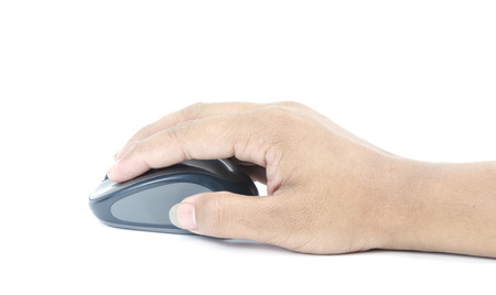 Hand click on modern computer mouse isolated on a white background Stock Photo - 27245432